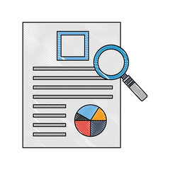 magnifying glass with document file and statistics pie graphic