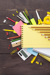 Back to school concept - school office supplies