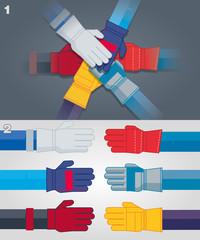 Mains avec des gants industriels évoquant la solidarité dans le travail, la coopération du groupe, illustration avec les couleurs modifiables