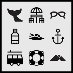 Simple 9 set of Summer related mountains and sun, boat float, anchor and women sunglesses vector icons