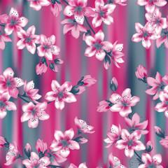 Japanese cherry blossom  sakura branches vector seamless pattern.