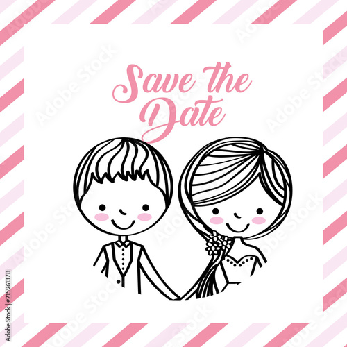 cute wedding couple portrait frame stripes vector illustration ...