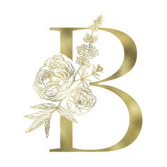 Floral alphabet and serif letter.