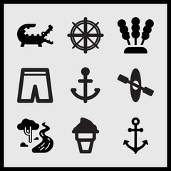 Simple 9 set of Summer related short pants, crocodile, canoe with rowing and seaweed vector icons