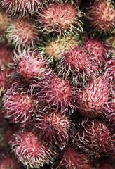 Fresh rambutan fruit closeup detail