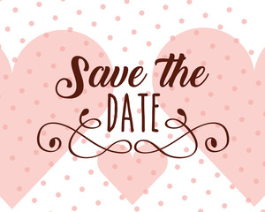 save the date love hearts dotted background vector illustration