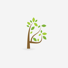 Green vector trees and roots. Vector illustration. Plant.