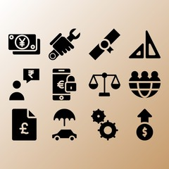 Team, profits and smartphone related premium icon set