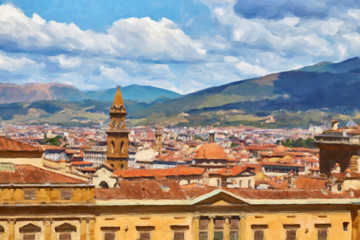Painted on canvas painting view on Florence, Italy