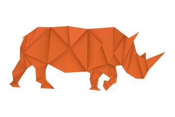 Rhinoceros. Brown paper polygonal