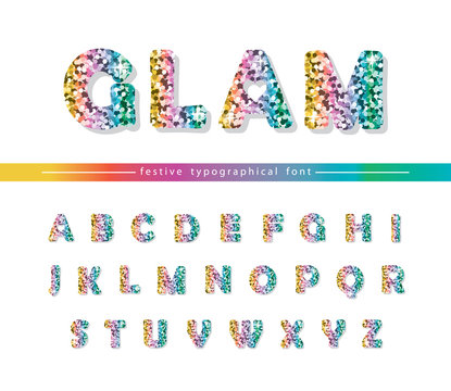 Glitter confetti multicolored font isolated on white. Glamour alphabet for Valentine s day, birthday design. Girly.
