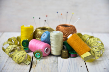 sewing tools collection. art soft focus