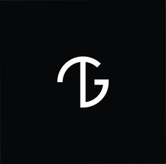 Outstanding professional elegant trendy awesome artistic black and white color TG GT initial based Alphabet icon logo.