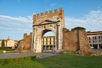 Famous place in Rimini, Italy. Arch of Augustus, the ancient gate of the city.