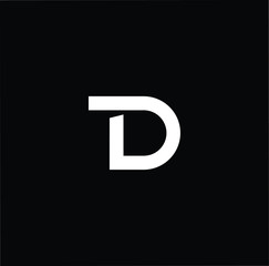 Outstanding professional elegant trendy awesome artistic black and white color TD DT initial based Alphabet icon logo.