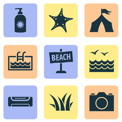 Summer icons set with camera, air conditioning, beach sign and other sea star