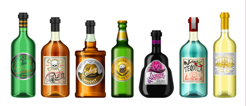 Alcohol drinks in a bottle with different vintage labels. Realistic Absent Liqueur Tequila Wine Whiskey Beer Rum. Vector illustration for the menu. logo engraved hand drawn.