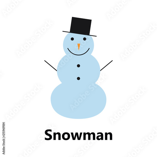 Snowman Symbol On The White Background Blue Sign Color Text Stock