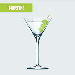 Martini cocktail with olives vector illustration