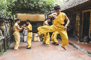 Vietnam, Hanoi, men exercising kung fu, jumping