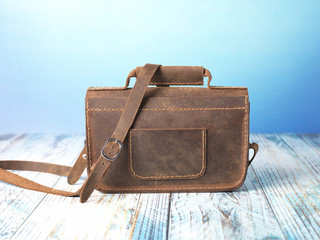 handmade leather messenger bag