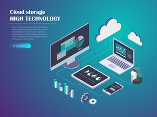 Data Cloud Storage Isometric illustration