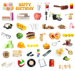 big collection of different objects isolated on white background