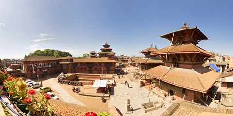 Panorama view of Patan Durbar Square from a rooftop in Kathmandu, Nepal.
