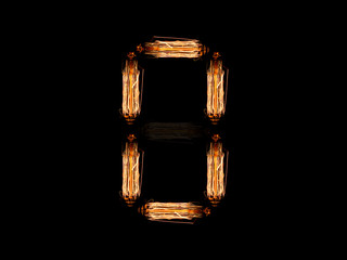 English alphabet O made of light bulb spires