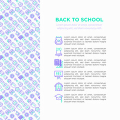Back to school concept with thin line icons: backpack, bell, book, microscope, knowledge, owl, graduation cap, bus, chemistry, mathematics, biology. Vector illustration, print media template.