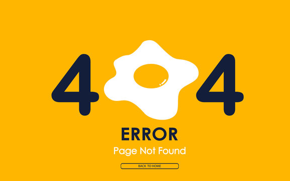 404 error with fried egg vector on yellow background