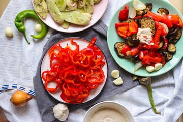 Bell pepper salad. Delicious healthy natural food full of vitamins from red capsicum. Raw vegan vegetarian food