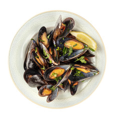Overhead photo of cooked mussels, isolated on white with a clipping path