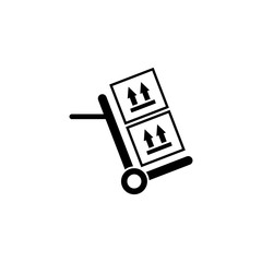 Hand Truck with Cardboard Boxes. Flat Vector Icon illustration. Simple black symbol on white background. Hand Truck with Cardboard Boxes sign design template for web and mobile UI element