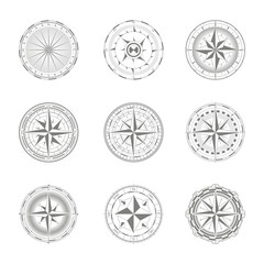 vector icons with compass rose for your design