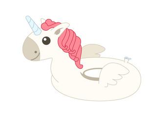white Pegasus floater. Vector illustration