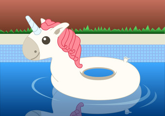 A white Unicorn floater floating in a swimming pool. Vector Illustration
