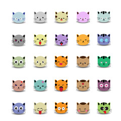 Set of cute cat face with emoticons