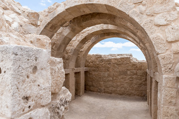 Ruins  of the fortress Avdat, located on the road of incense in the Judean desert in Israel. It is included in the UNESCO World Heritage List.