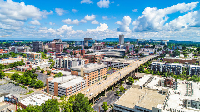 Drone Aerial of Downtown Greenville South Carolina Skyline