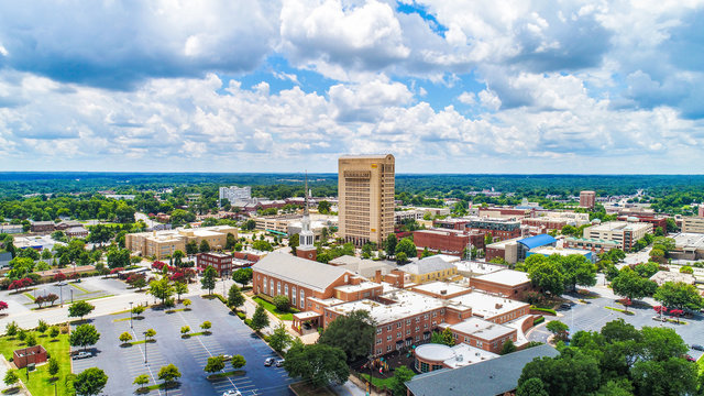 Drone Aerial of Downtown Spartanburg South Carolina