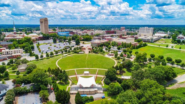 Drone Aerial of Downtown Spartanburg South Carolina Skyline