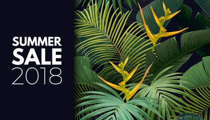 Summer vector floral sale banner. Tropical template design with banana and sabal palm leaves and yellow bird of paradise flowers.
