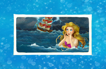 cartoon adventure scene with storm on the sea - mermaid watching some ship - illustration for children