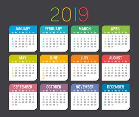 Year 2019 calendar vector template