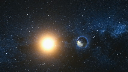 Wall Mural - Space view on Planet Earth and Sun Star rotating on its axis in black Universe. Milky Way in the background. Seamless loop with day and night city lights change. Elements of image furnished by NASA