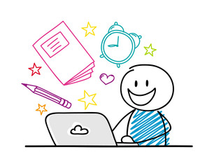 Happy stickman working on laptop - school concept with accessories. Vector.