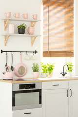 Close-up of a bright, scandi kitchen interior with pink kitchenware, an oven and herbs. Real photo