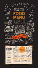 Food menu for restaurant. Vector flyer with kitchen utensils on blackboard background. Design template with vintage hand-drawn illustrations.