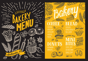 Bakery menu for restaurant. Design template with food hand-drawn graphic illustrations. Vector food flyer for bar and cafe on blackboard background.
